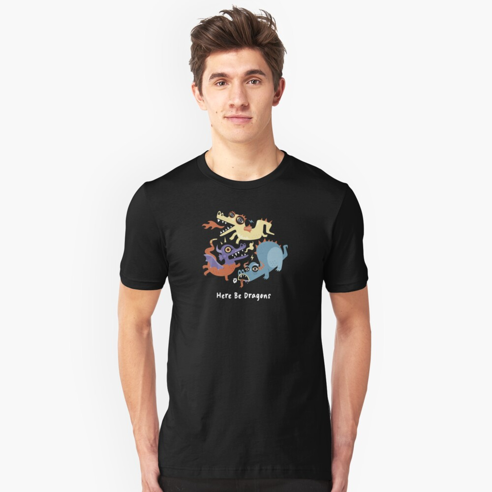 Here be Dragons - Programming Unisex T-Shirt Front