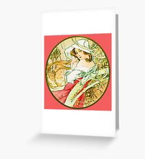 November from the 1889 Calendar by Alphonse Mucha Greeting Card