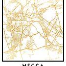 MECCA SAUDI ARABIA CITY STREET MAP ART by deificusArt