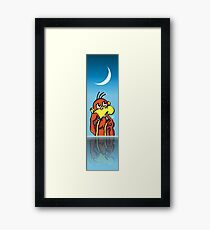 Board/Bored Monkey Night Reflection with Moon Framed Print