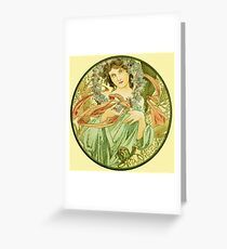 December from the 1889 Calendar by Alphonse Mucha Greeting Card