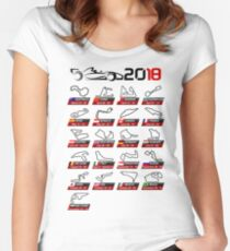 Calendar F1 2018 circuits white sport Women's Fitted Scoop T-Shirt