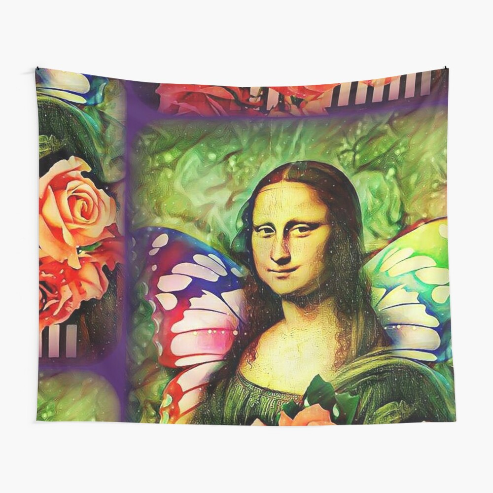 Butterfly Mona Lisa  Wall Tapestry