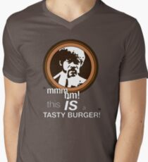 """This is a tasty burger!"" Men's V-Neck T-Shirt"