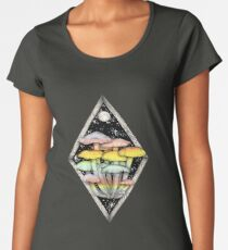 Rainbow Mushrooms || Psychedelic Illustration by Chrysta Kay Women's Premium T-Shirt