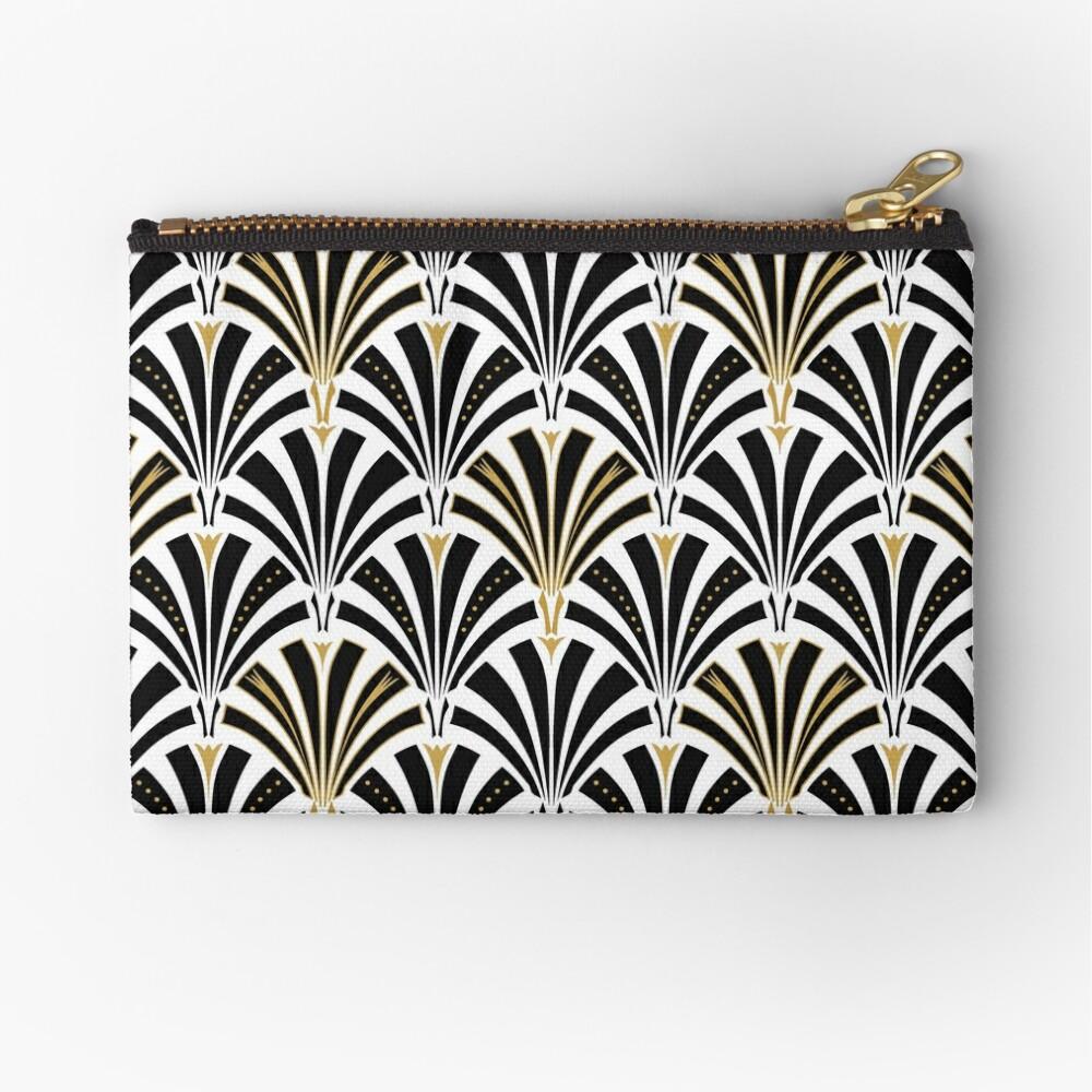 Art Deco Fan Muster, schwarz und weiß Täschchen