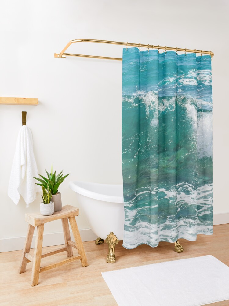 Alternate view of waves Shower Curtain