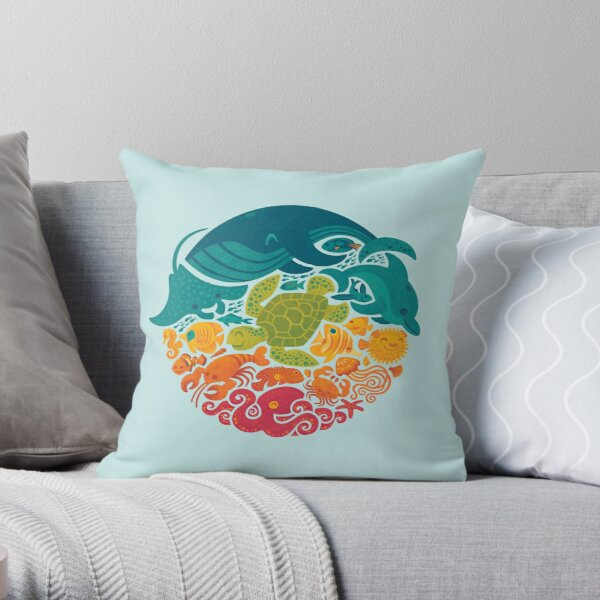 Aquatic Rainbow (light blue) Throw Pillow