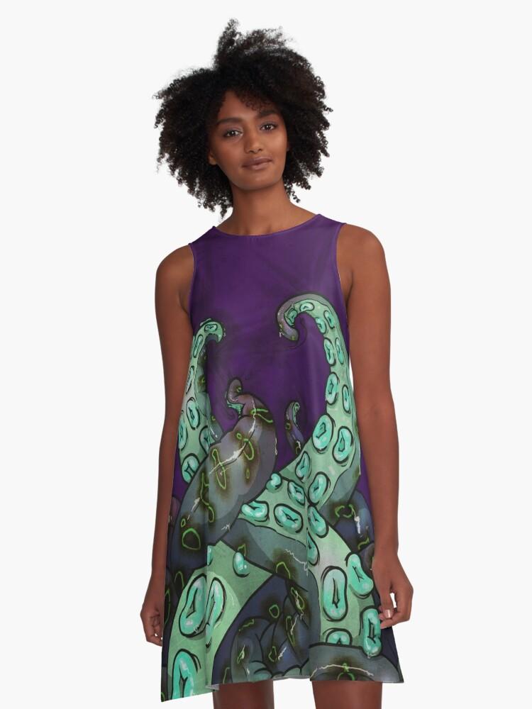 Mint Tentacles A-Line Dress Front