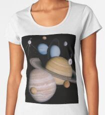 VOYAGER, Planets, Moons, the two spacecraft have visited Women's Premium T-Shirt