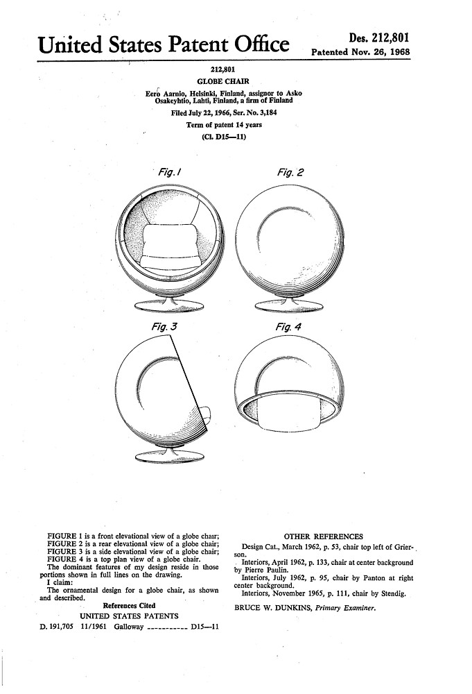 Excellent Eero Aarnio Ball Chair Patent Artwork By Fascinatingly Inzonedesignstudio Interior Chair Design Inzonedesignstudiocom