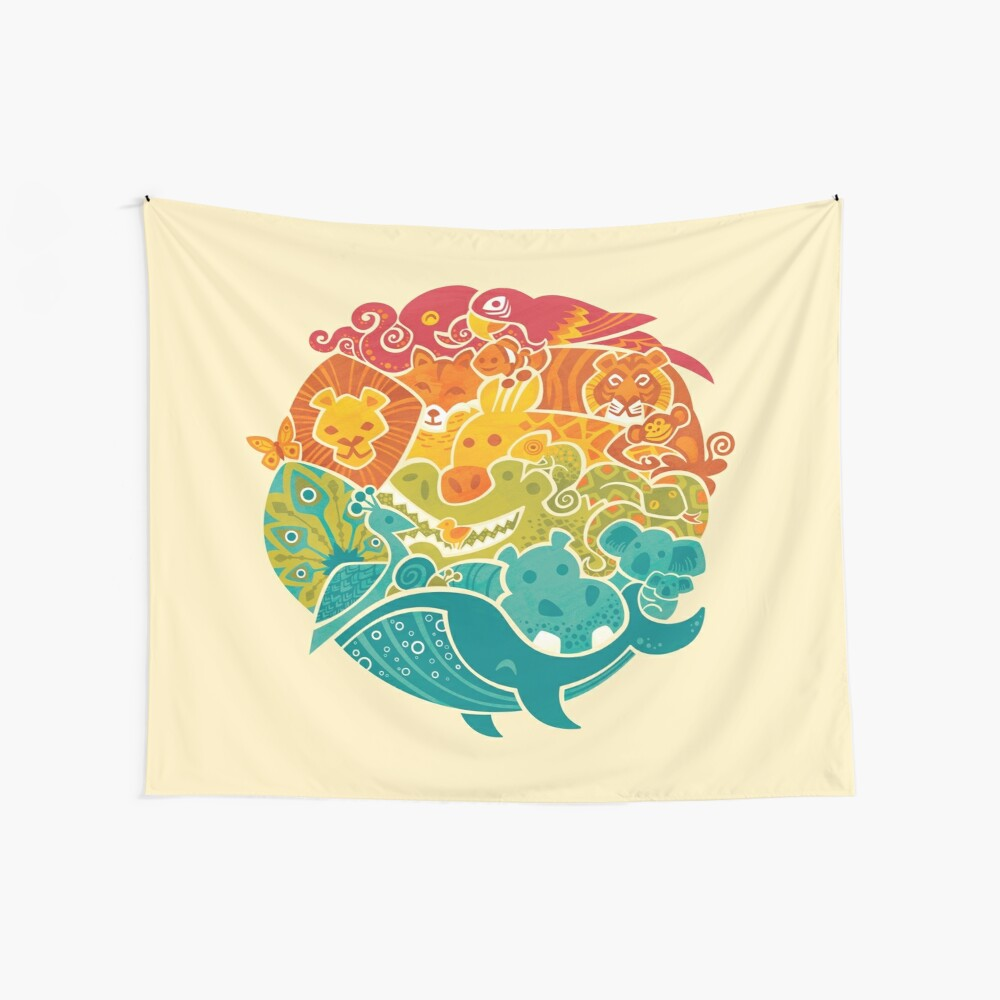 Animal Rainbow - cream Wall Tapestry