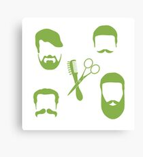 Cute vector illustration of men hairstyles, beards and mustaches, hairdresser tools care. Barbershop symbol. Canvas Print