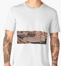 Round empty wooden brown tables with benches on the street Men's Premium T-Shirt