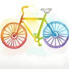 Watercolor Rainbow Bicycle by galacticdragon