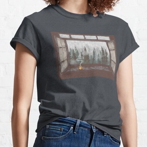 Foggy Forest Window || Cozy Fall Illustration Classic T-Shirt