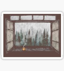 Foggy Forest Window || Cozy Fall Illustration Sticker