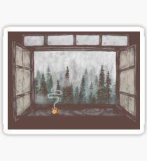 Foggy Forest Window || Cozy Fall Illustration Sticker