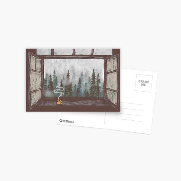 Foggy Forest Window || Cozy Fall Illustration Postcard