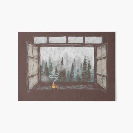 Foggy Forest Window    Cozy Fall Illustration Art Board Print