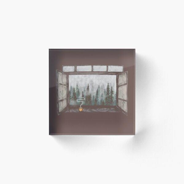 Foggy Forest Window || Cozy Fall Illustration Acrylic Block