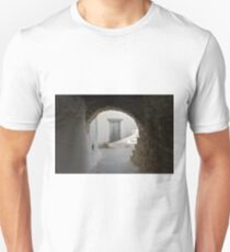 Old Greek village with white houses and blue door T-Shirt