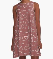 Seamless pattern with variety scientific, education elements: flask, formula, pestle and other. A-Line Dress
