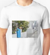 Greek white houses with blue doors  T-Shirt