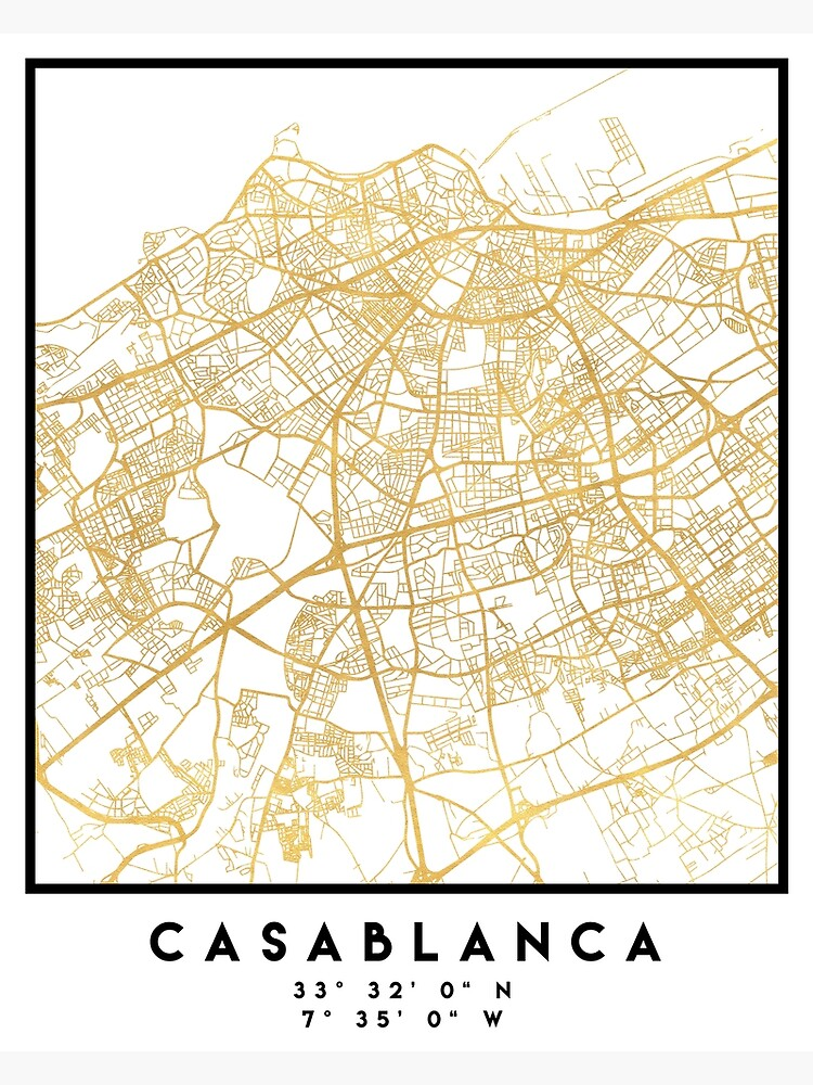 CASABLANCA MOROCCO CITY STREET MAP ART | Poster on marrakech map, potsdam map, damascus map, africa map, lima map, algiers map, salerno map, timbuktu map, oran map, algeria map, morocco map, western sahara map, key largo map, cape town map, accra map, johannesburg map, dar es salaam map, tripoli map, dubai map, marrakesh map,