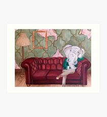 Wise Old Elephant Sitting on the Couch Art Print