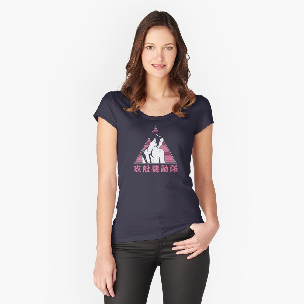 025 GITS pink Tailliertes Rundhals-Shirt