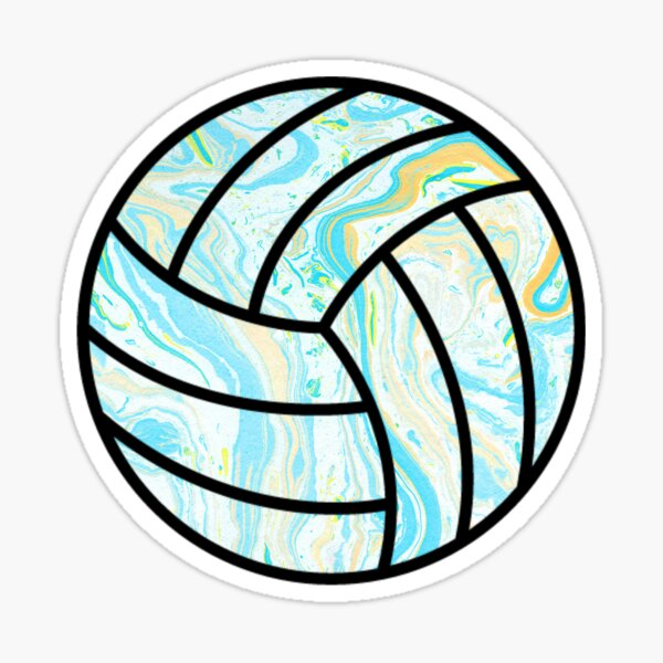 Blue and Yellow Marbled volleyball Sticker