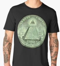 Eye of Providence, America, USA, Mystic, Dollar, Bill, Money, Freemasonry, All Seeing Eye, Pyramid, Masonic Men's Premium T-Shirt