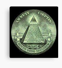 Eye of Providence, America, USA, Mystic, Dollar, Bill, Money, Freemasonry, All Seeing Eye, Pyramid, Masonic Canvas Print