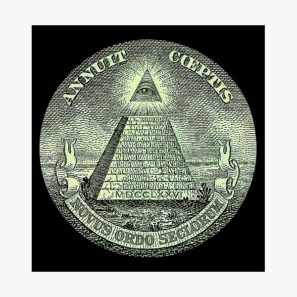 Eye of Providence, America, USA, Mystic, Dollar, Bill, Money, Freemasonry, All Seeing Eye, Pyramid, Masonic. Photographic Print