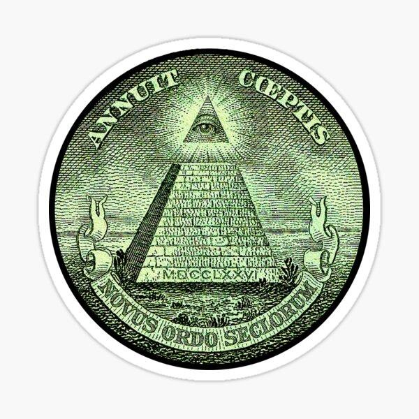 Eye of Providence, America, USA, Mystic, Dollar, Bill, Money, Freemasonry, All Seeing Eye, Pyramid, Masonic. Sticker