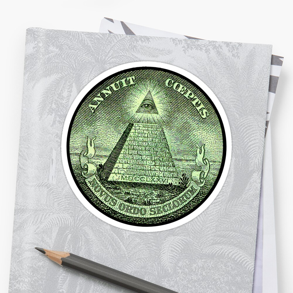 Eye of Providence, America, USA, Mystic, Dollar, Bill, Money, Freemasonry, All Seeing Eye, Pyramid, Masonic Sticker