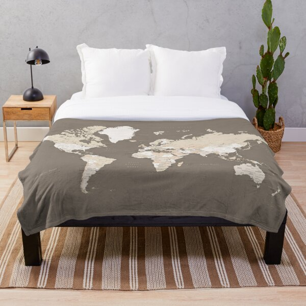 Earth tones world map with cities Throw Blanket
