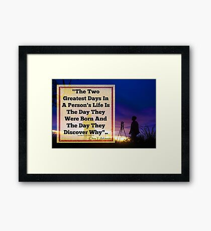 TWO GREAT DAYS Framed Print