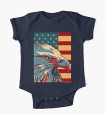Body de manga corta para bebé American Patriotic Eagle Bald