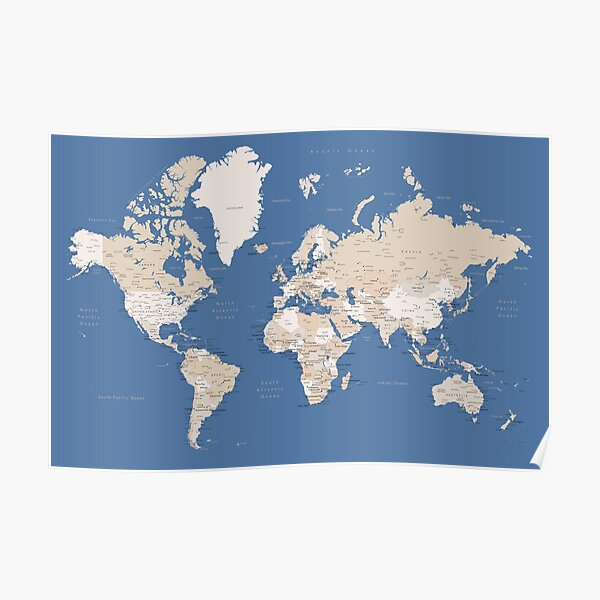 Blue and brown detailed world map Poster