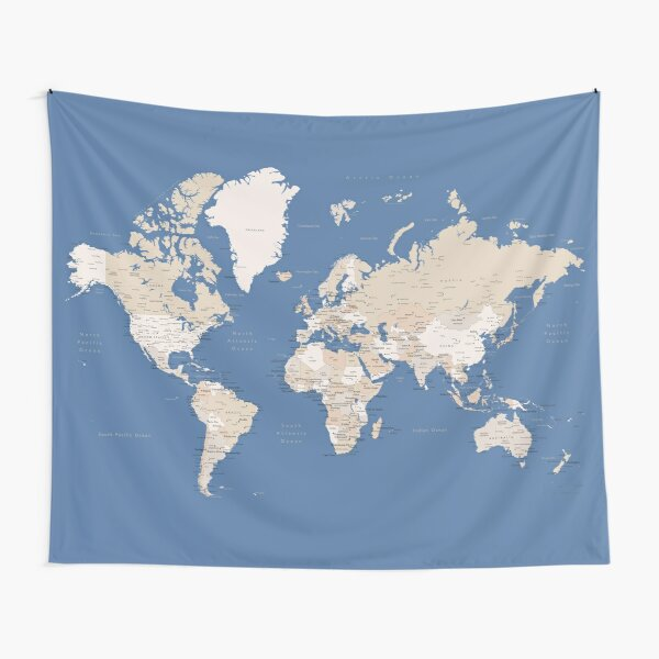 Blue and brown detailed world map Tapestry