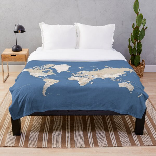 Blue and brown detailed world map Throw Blanket