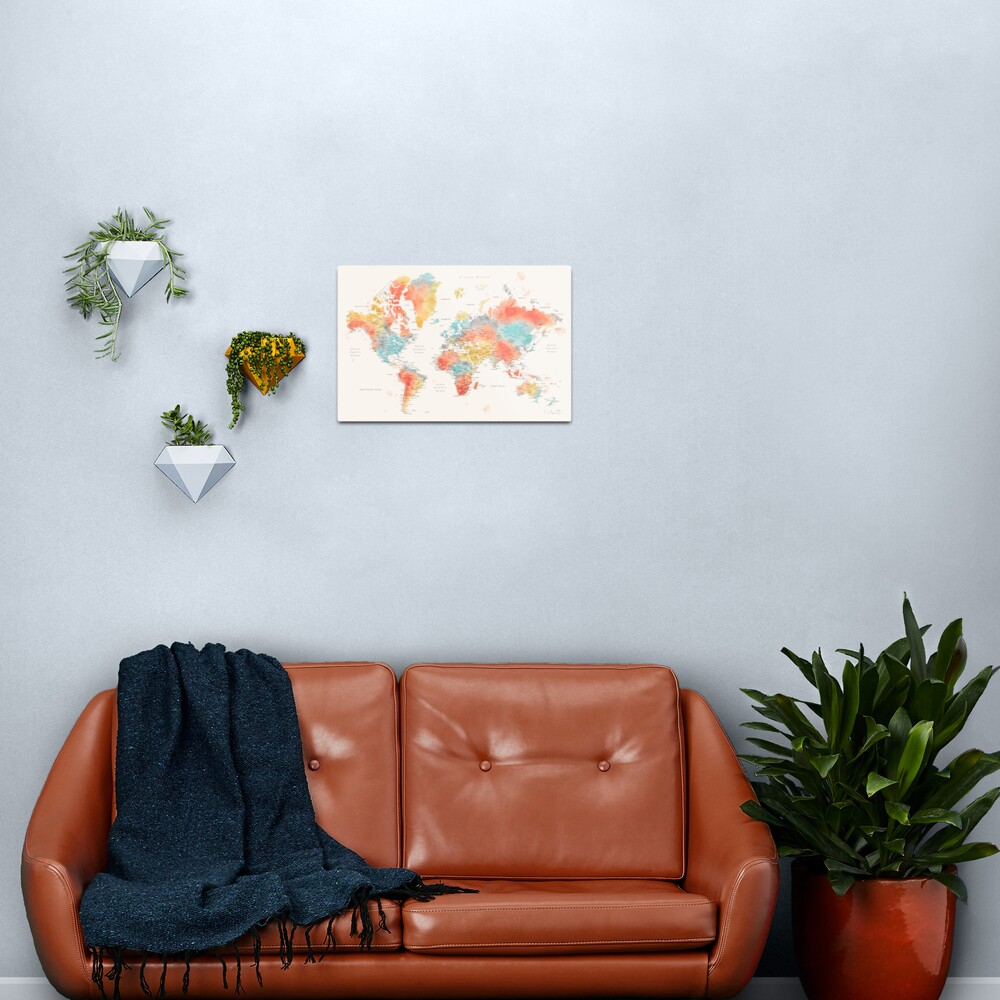 Colorful watercolor detailed world map Metal Print
