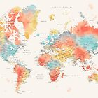 Colorful watercolor detailed world map by blursbyai