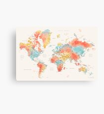 Ausführliche Weltkarte des bunten Aquarells Leinwanddruck