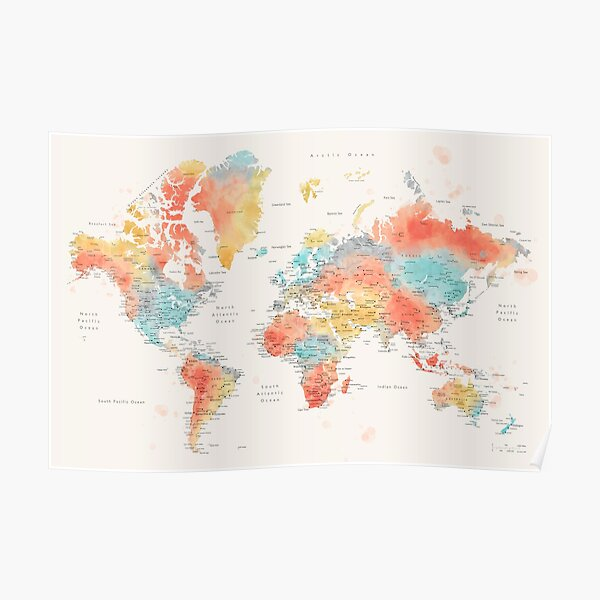 Colorful watercolor detailed world map Poster