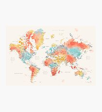 Colorful watercolor detailed world map Photographic Print