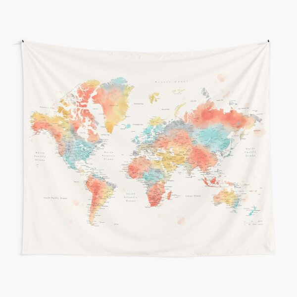 Colorful watercolor detailed world map Tapestry