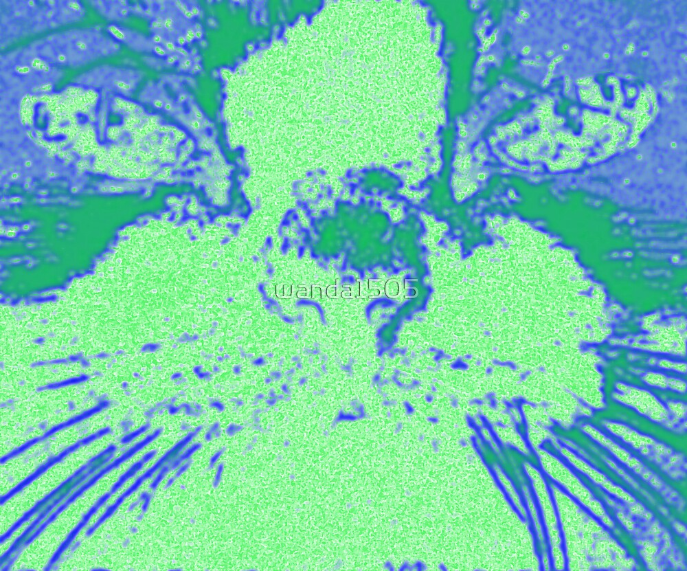 Blue Green Cat - Pop Art Style by wanda1505